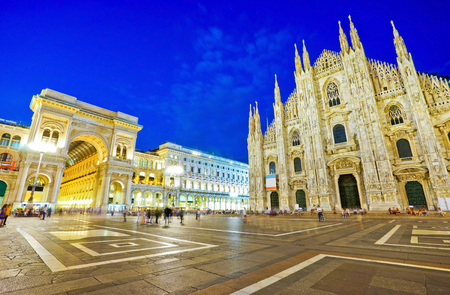 View of the Milan Cathedral and Cathedral Square at night in Milan.