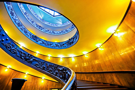 View of the spiral stairs of Vatican Museums in Vatican.