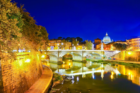 View of St. Peters Basilica and Bridge King Victor Emmanuel II in Rome at night