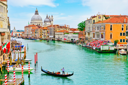 View of the Gondolas rowing on the Grand Canal in Venice