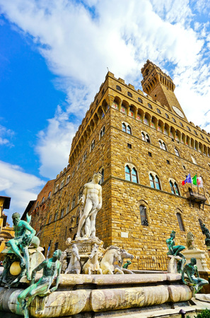 View of the Palazzo Vecchio on the Piazza della Signoria with Fountain of Neptune in Florence on September 10, 2016.