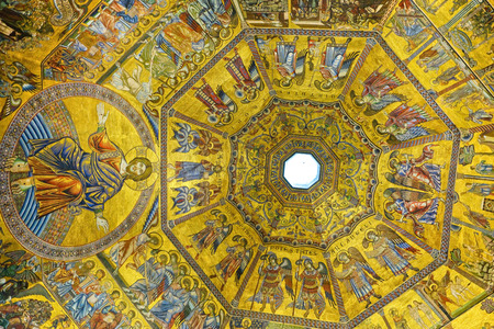 Interior of the Florence Baptistery next to the Florence Cathedral in Florence with the beautiful mosaic ceiling on September 11, 2016.