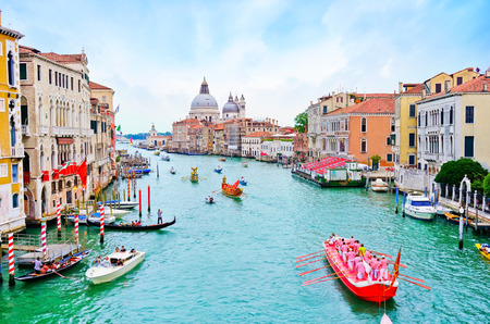 View of the historical gondola race- Regata Storica with lots of Gondolas rowing on the Grand Canal in Venice on September 4, 2016. Editorial