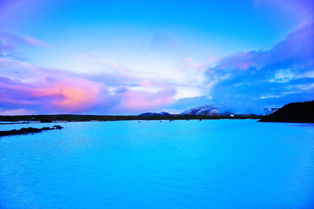 View of the Blue Lagoon at dusk in Iceland. 写真素材