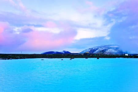 View of the Blue Lagoon at dusk in Iceland. Stock Photo