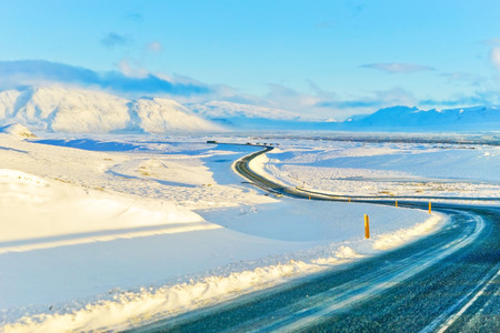View of the snowy plateau in winter in Iceland. Stok Fotoğraf