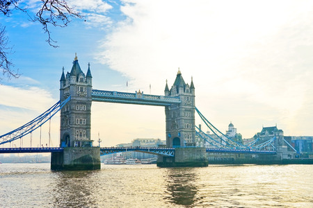 View fo Tower Bridge along with River Thames on a sunny day in London. Фото со стока