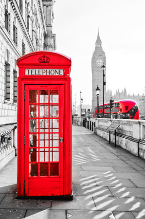 Red telephone box and Big Ben in London with isolated color effect. Stock Photo - & Red Telephone Box And Big Ben In London With Isolated Color Effect ...