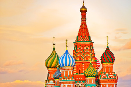 View of St. Basil's Cathedral on the Red Square at sunset in Moscow, Russia.