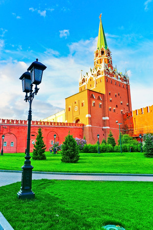 View of the Kremlin from Alexander Garden in Moscow in summer. Editorial