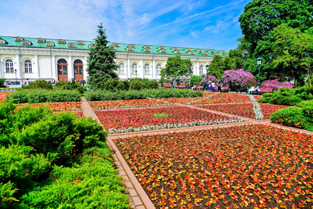 View of Alexander Garden and Moscow Manege next to the Kremlin in Moscow. Editorial