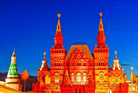 View of the State Historical Museum on Red Square in Moscow at twilight Editorial
