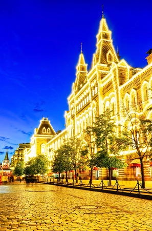 View of GUM department store with beautiful lightings at night on the Red Square in Moscow.