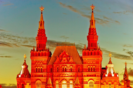 View of the State Historical Museum on Red Square in Moscow at sunset