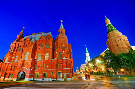 View of the Kremlin and State Historical Museum on Manezhnaya Square in Moscow at night. Editorial