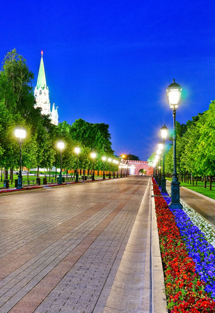 View of the Kremlin and Alexander Garden in Moscow at night. Banco de Imagens