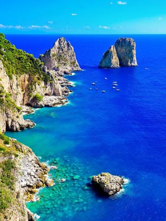 Overlooking the beautiful coastline of the Capri Island in Italy in summer.