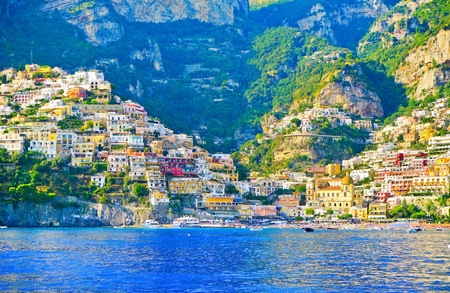 View of Positano along Amalfi Coast in Italy in summer.