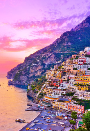 View of Positano village along Amalfi Coast in Italy at dusk. Banque d'images