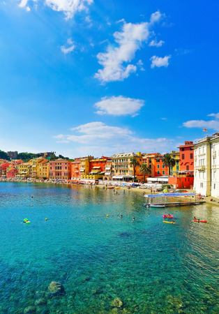 View of beautiful coastline in summer at the Bay of Silence in Sestri Levante, Italy.