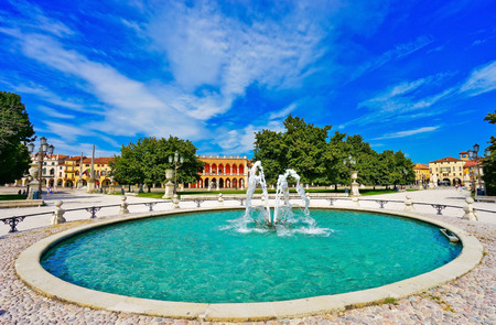 The piazza of Prato della Valle in Padua, Italy. The piazza is the biggest square in Europe with the area of ??90 thousand square meters.