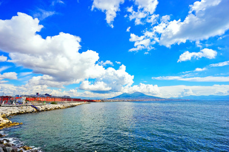 View of the Mount Vesuvius and Gulf of Naples on a sunny day in Naples, Italy. Editorial