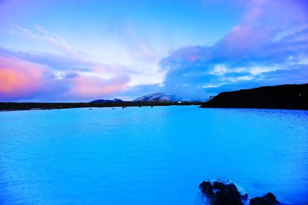 View of the Blue Lagoon at dusk in Iceland. Editorial