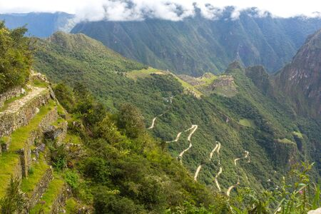 Panoramic view of Machu Picchu from Sun Gate. 스톡 콘텐츠