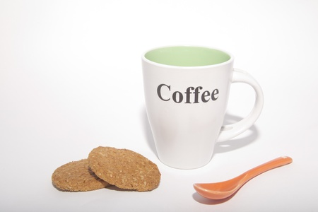 one cup and two cookies