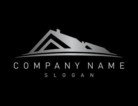 Silver vastgoed logo Stock Illustratie