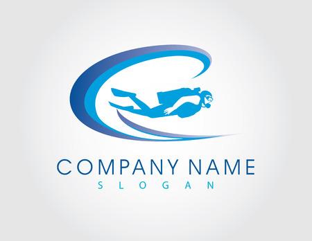 scuba goggles: Diver logo Illustration