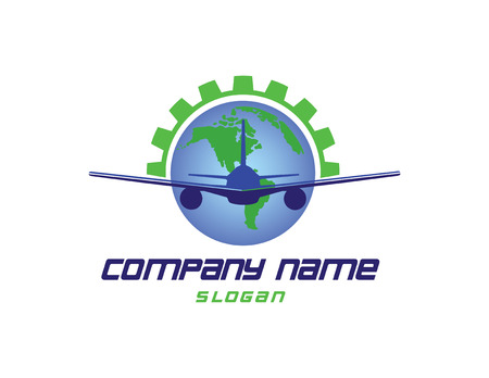 Airplane world logo Illustration