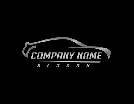 車のロゴ 2 黒の背景  イラスト・ベクター素材