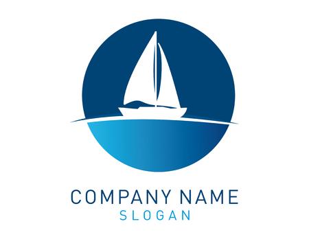 Sail boat logo Illustration