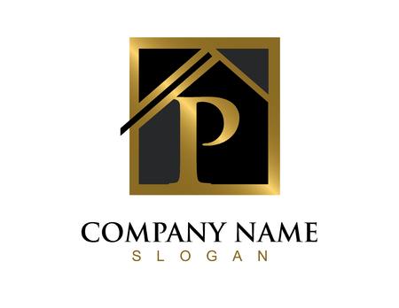 Gouden letter P huis logo