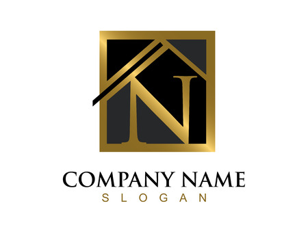 commercial painting: Gold letter N house logo