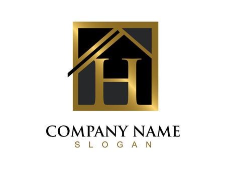 Golg letter H huis logo Stock Illustratie