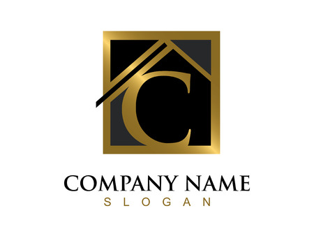 Gold letter C house logo Illustration