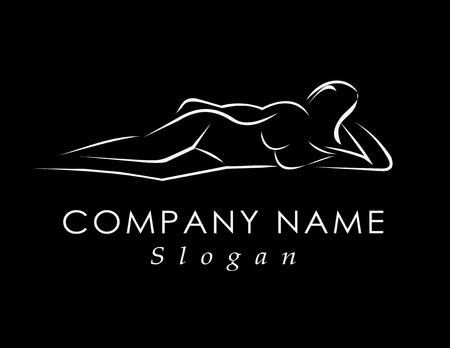 Sleeping woman logo black background