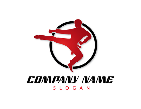 Typ logo do projektowania sztuk walki. Logo
