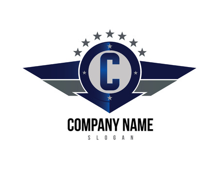 Letter C shield logo. Illustration