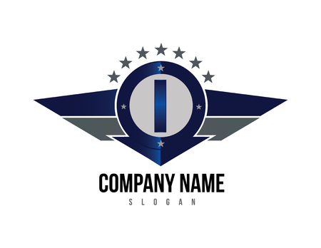 Letter I shield logo Vectores