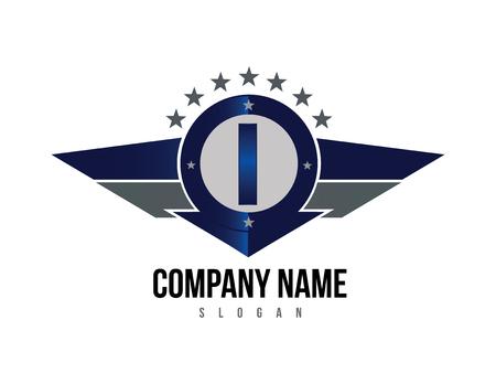 Letter I shield logo Ilustracja