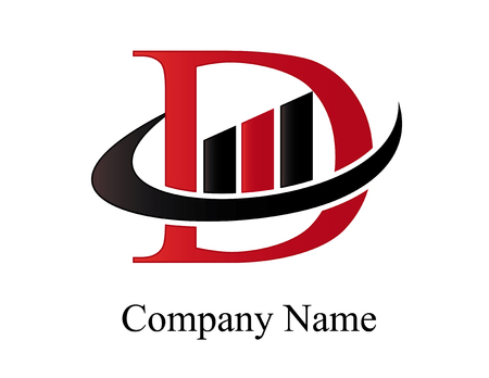 Letter D financial icon.