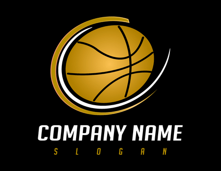 dribbling: Logo basketball black background