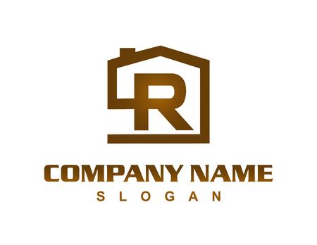 Letter R house logo Иллюстрация