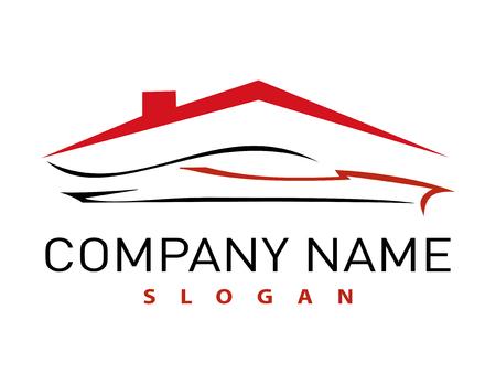huis en auto logo Stock Illustratie