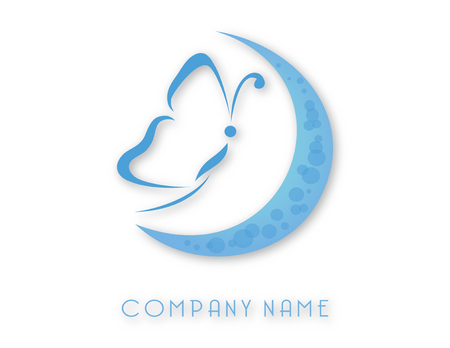 Butterfly and moon logo. Vector illustration.