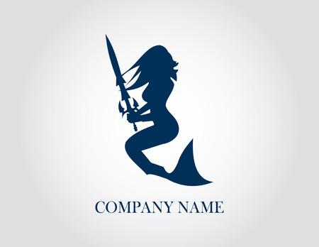 人魚の会社のロゴ。ベクトルの図。