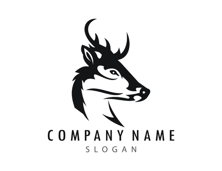 deer logo  icon on white background, Vector illustration.
